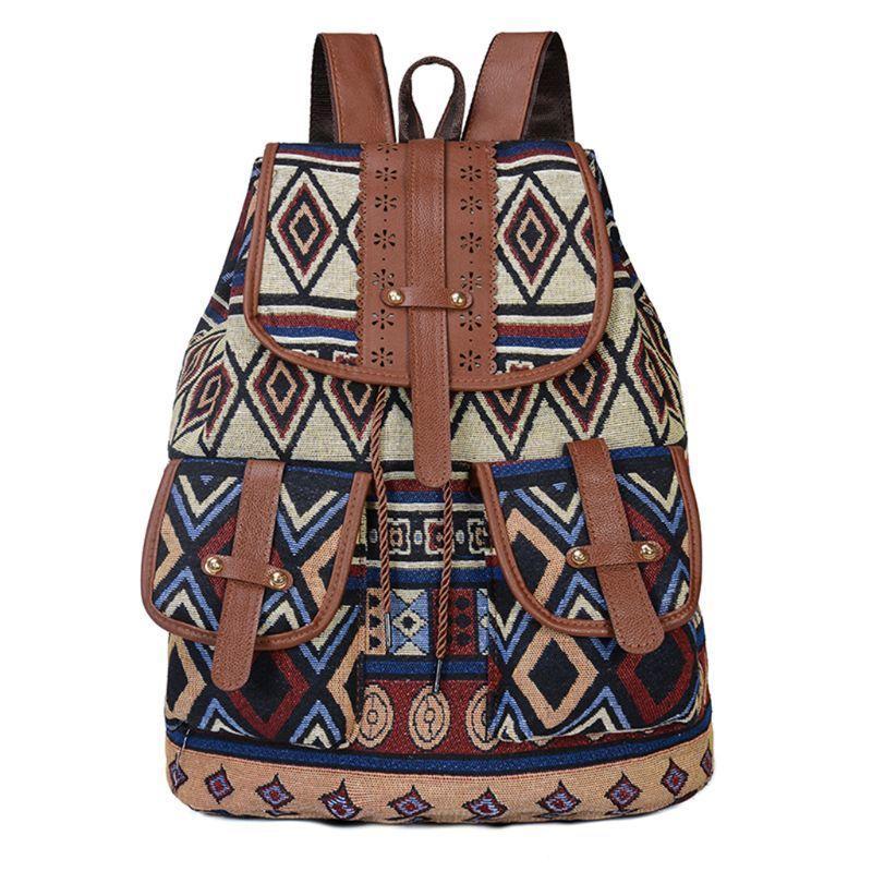 Рюкзак высокое качество старинные печатные холст этнические для женщин девочек школа шкала штурма четкости путешествия рюкзак