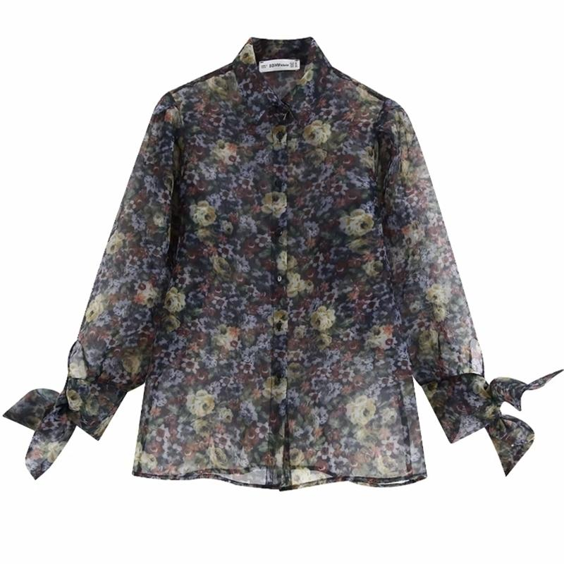 Donne Sexy Stampa floreale Transparent Organza Blouse Camicetta Chic Camicie Femminile A Bow Legato Manica Casual Chemise Blusas Tops LS4063 210420