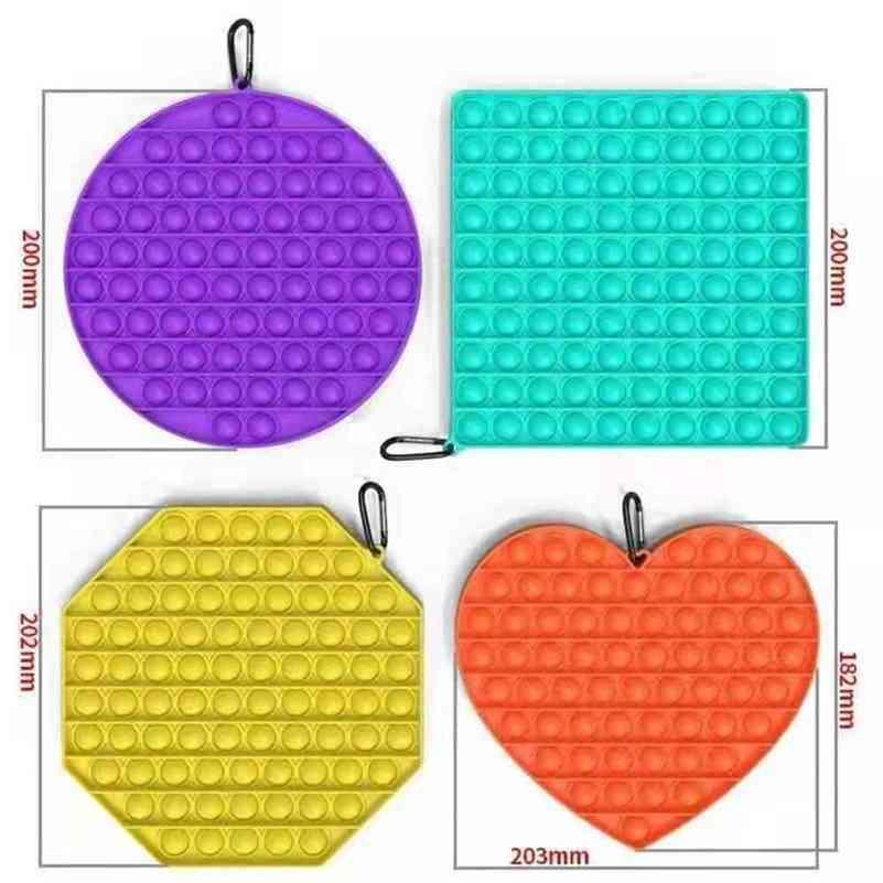 Mega Jumbo Rainbow Push Bubble Pop Fidget Poppers Board Sensory Finger Diversión Popper Puzzle Mosquetón Clip Tiktok Autismo Autismo Especial Llavero Squishies ADHD necesita H42UJ2D
