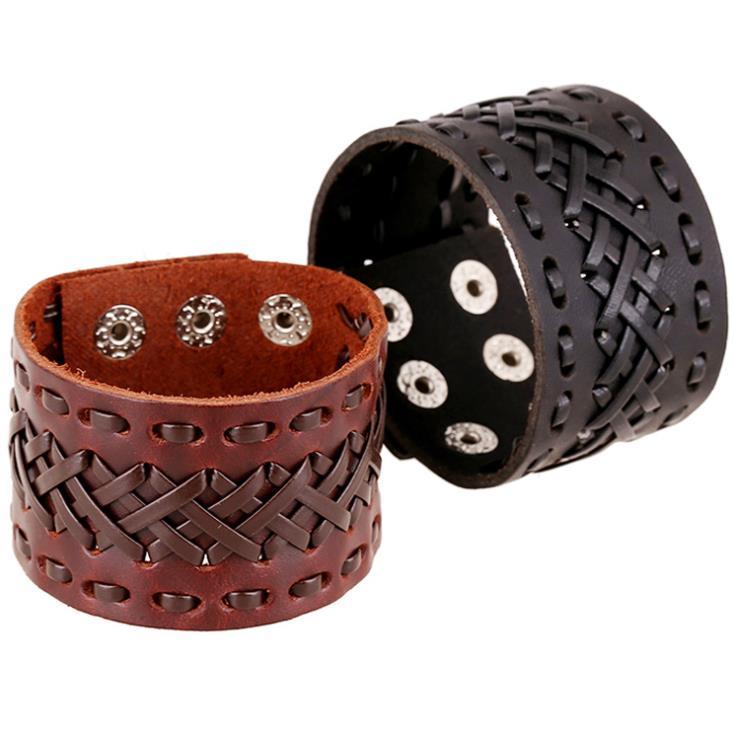 Charm JewelryCharm Bracciali Arrivo Bracciale Genuino Braccialetto da polso da polso larga in pelle con bottone a scatto per uomini donne gioielli regali consegna consegna