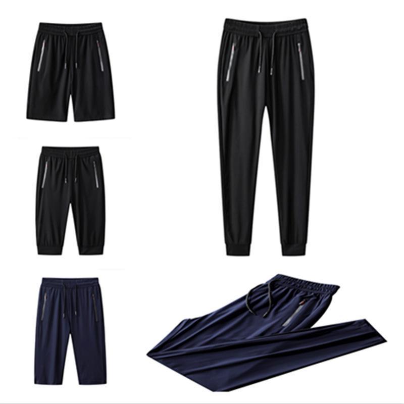 Verano hielo seda casual grande tamaño suelto nuevo elástico aire acondicionado pantalón racimo rápido deportes seco hombres pantalones