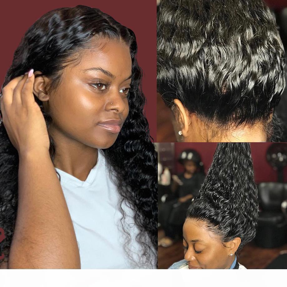 360 encaje frontal peluca agua húmeda wavy28 pulgada ola rizada preplucida con cabello bebé pelucas humanas malasianas para mujeres negras frente al frente