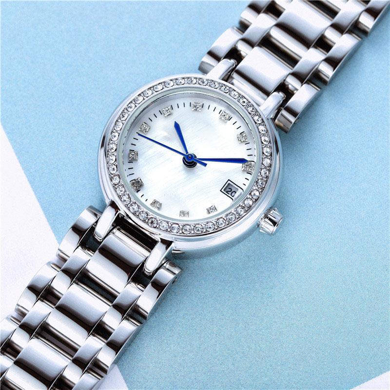 여자 시계 스테인레스 스틸 드레스 캐주얼 디자인 시계 숙녀 손목 시계 쿼츠 relogio 로마 숫자 아날로그 다이아몬드 달 심장 손목 시계 Reloj