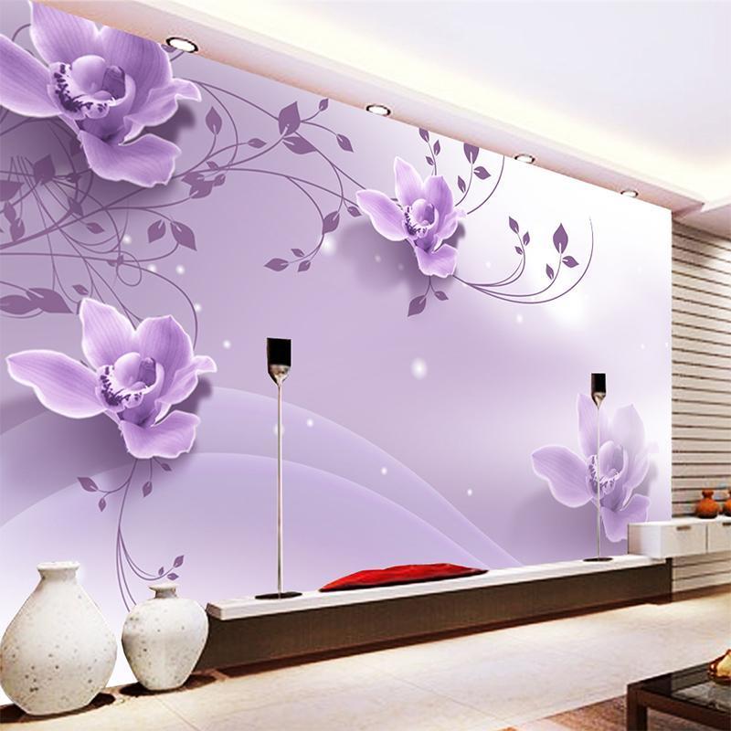 Wallpapers costume 3d romântico elegante roxo flores papel de parede para sala de estar tv fundo parede pintura casa decoração home pano