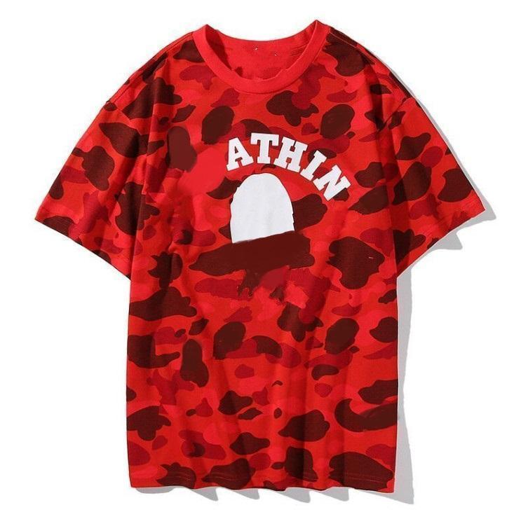 2020AW 여름 위장 상어 Tshirt Mens와 Womens 티 트렌드 캐주얼 커플 하프 슬리브 순수면 짧은 티셔츠