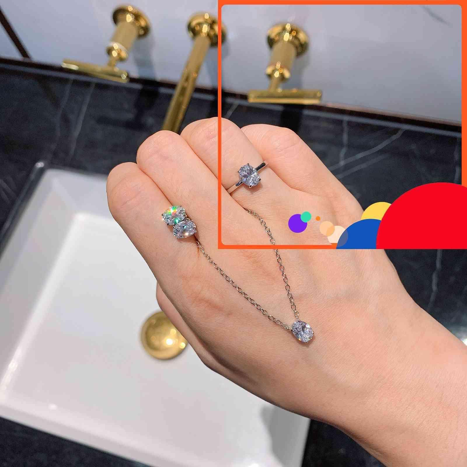 S925 Ago Silver Color Treasure Popolare Simulazione elevata Carbonio Simulazione Bianco Diamante Orecchini a Pendente