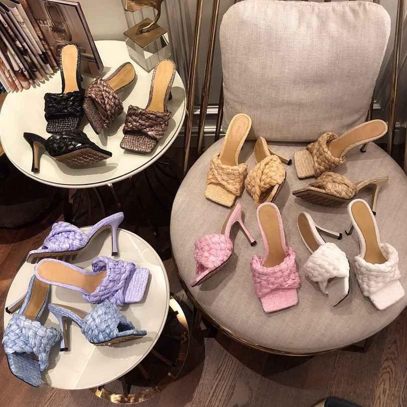 Seksi Düz Dokuma Kadın Terlik Kare Katlar Slaytlar Sandalet Ayakkabı Bayanlar Düğün Yüksek Topuklu Ayakkabı 8 Renk En Kaliteli Kutusu Ile