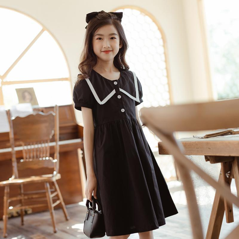 YourSeason 6 To 16 Years Kids Girls Summer Preppy Dress 2021 Teen Button Clothes Girl Cotton Cute Loose Dresses Patchwork Girl's