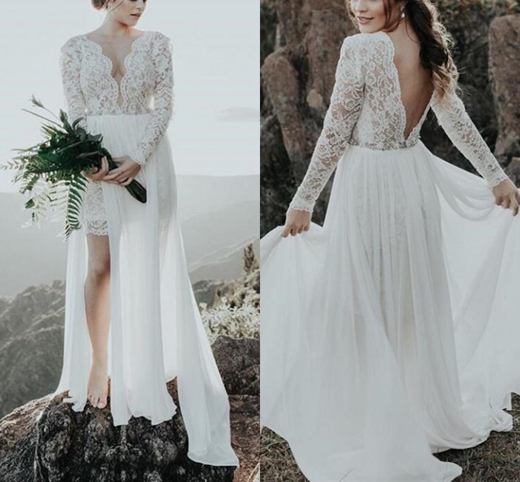 Summer Beach Wedding Dresses Backless Chiffon A Line Bridal Gowns Applique Lace V Neck Long Sleeves Short Boho vestide de noiva