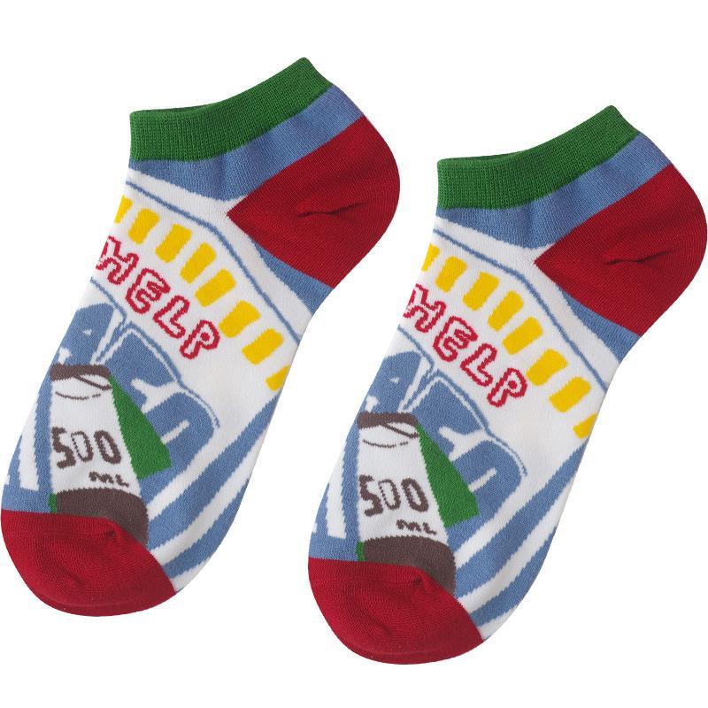 2 çift bir lot kadınlar komik çorap ayak bileği pamuk çorap tasarımı yaz 210515