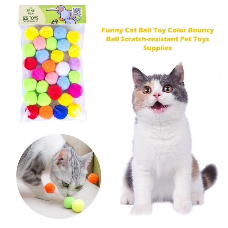 Pcs Funny Cat Ball Toy Color Bouncy Scratch-resistant Soft Pet Toys Supplies