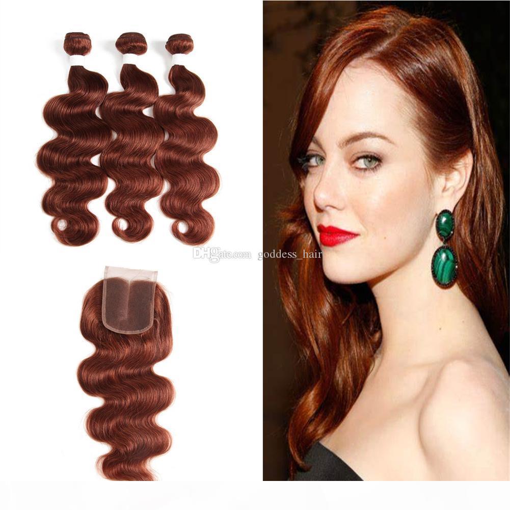 Brown Virgin Human Hair 3bundles con cierre de encaje 340G MEDIO MEDIO MEDIO AUBURN COLOR DE ONDA CUERPO EXTENSIONES DE PELO CON CIERRE TOP 4x4