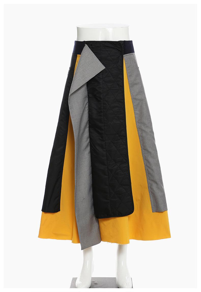 jupes inter-coton hit personnalité couleur irrégulière couleur couleur grande taille lâche taille élastique longue jupe femme style de mode