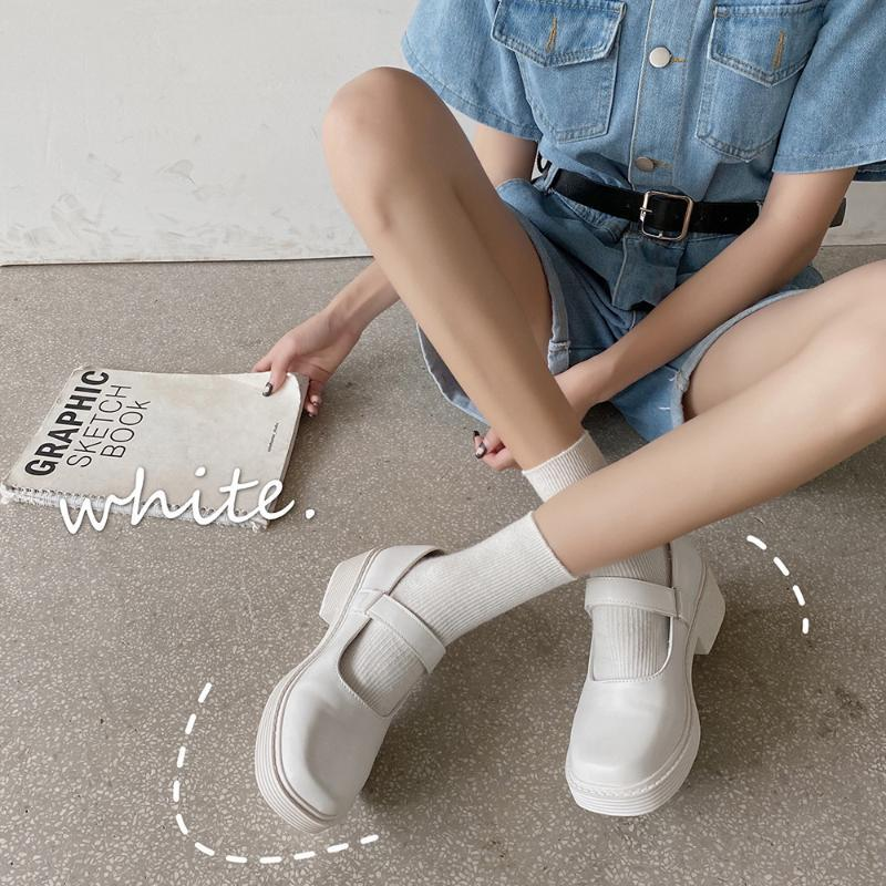 Обувь платье Белая платформа Женщины маленькая кожаная японская Мэри Джейн JK Толстые квадратные ноги Винтаж колледж студент каблуки