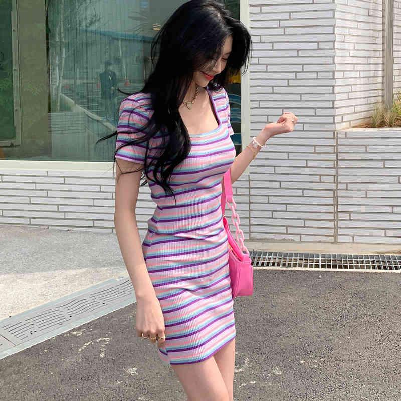 Vestido de la funda de verano a rayas coloridas Vestido de fiesta casual de manga corta Corea Punto Mini vestido Oficina Lady Streetwear Elegante C238 x0521