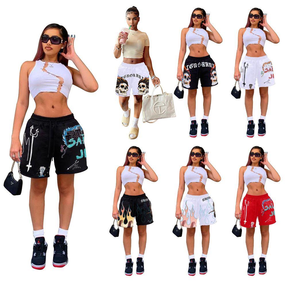 Sommer Frauen Die neue Auflistung Modern Pullover Stoff Multi Color Positioning Druck Seil Drei Tasche Mini Sport Shorts