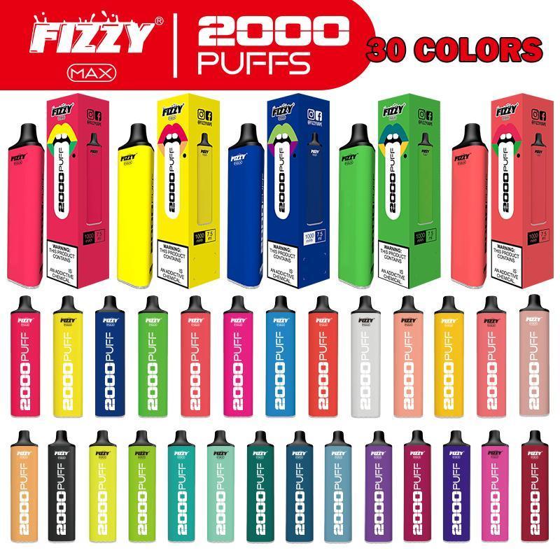 최신 일회용 전자 담배 Fizzy Max 2000Puff 고품질 vape 펜 1000mAh 7.5ml 전자 담배 30 색