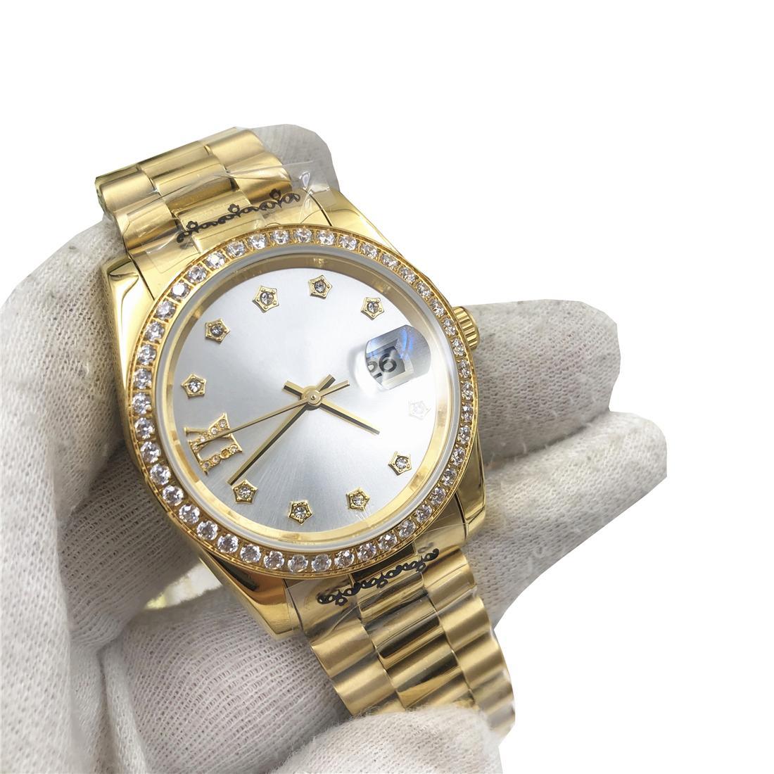 Top Hot Mens Automático Assista Noctilucent Negócios À Prova D 'Água Luxo Relógio De Aço Diamante Strap Relogio Mulheres 36mm