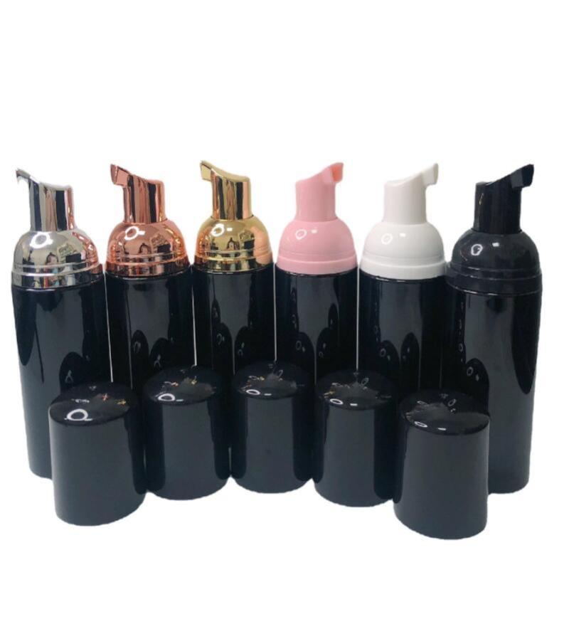 زجاجات تخزين الجرار 10 قطع 60 ملليلتر مشرق أسود رغوة زجاجة الصابون موس السائل موزع بلاستيك شامبو غسول