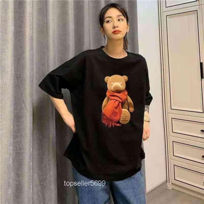 Yaz ayı kısa kollu kadın tops tees t-shirt orta uzunluk 2021 moda çift tarzı