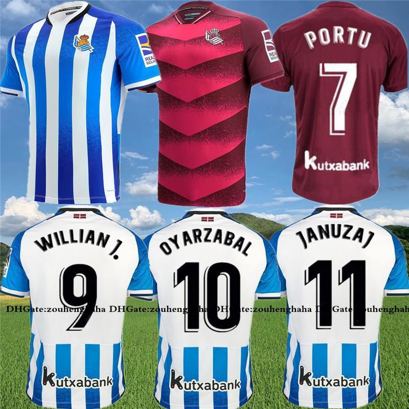 Real Isak Sociedad Oyarzabal Soccer Jerseys 2021 22 Merino Januzaj Silva كرة القدم قميص كيت بورتو Barrenetxea مايلوتس دي القدم ويليان J. Camiseta 1ª Equipación