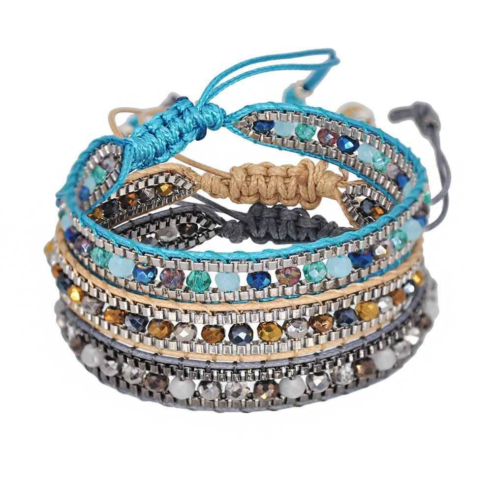2021 Mixed color crystal beads multi-layer rope wide chain national style retractable woven bracelet female