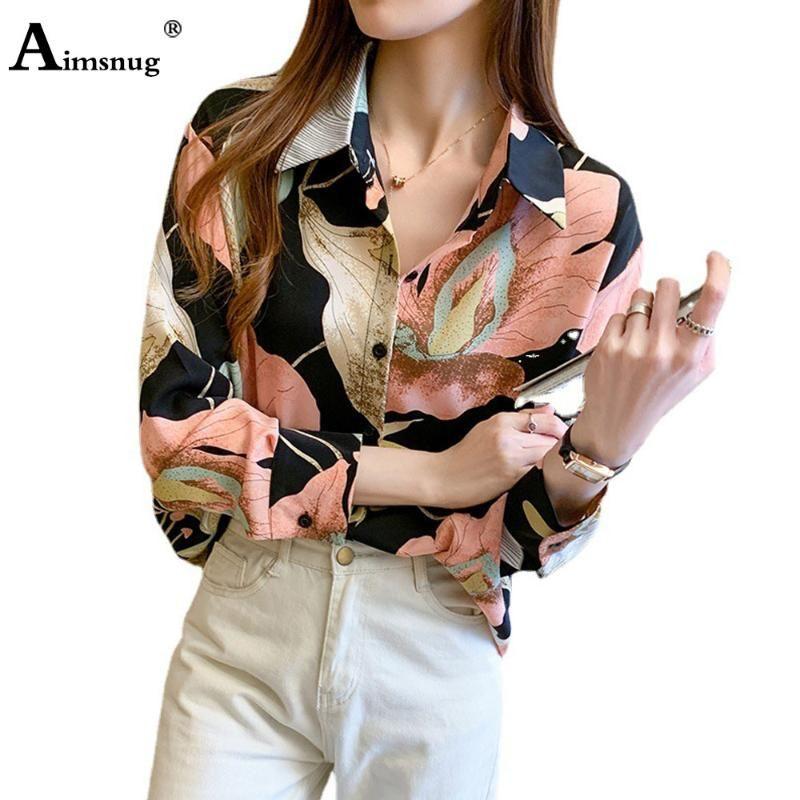 Damen Elegant Freizeit Freizeit Hemd Minimalistische Frauen Top 2021 Sommer Chiffon Blume Druck Bluse Femme Blusas Ropa Mujer Blusen Hemden