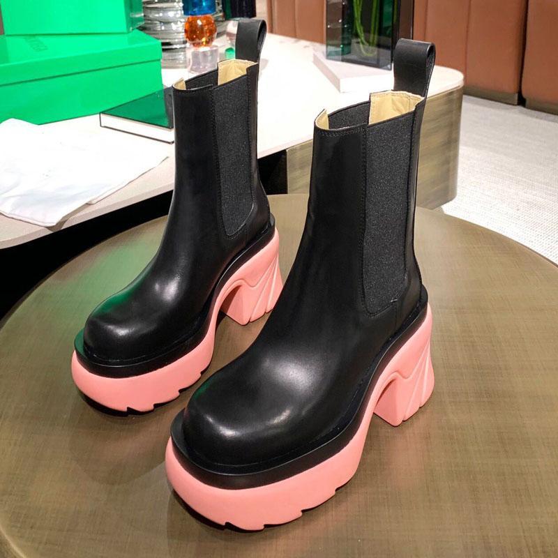 Automne et hiver Femmes Cuir Chelsea Bottes Courtes De Mode Designer Couvre-talon épais Cheminée accrue britannique Mid-Tube Slim Vert Bottes Martin Bootss