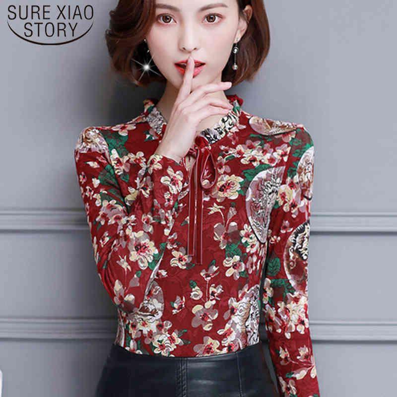Elegante Herbst-weibliche Kleidung koreanische druck langarm tops blusas mujer de moda frauen und bluse 6893 50 210512