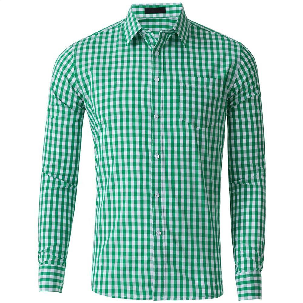 셔츠 도매 사용자 정의 세련된 그리드 캐주얼 코튼 긴 소매 격자 무늬 남성 체크