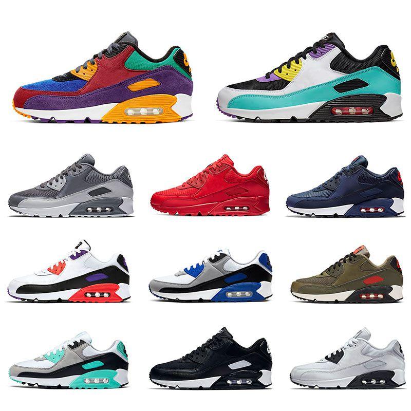 Nike Air max 90 Running shoes For Men shoes 남자 운동화 여성을위한 클래식 90 러닝 신발 스포츠 트레이너 메쉬 가죽 디자이너 쿠션 표면 통기성 EUR 36-45