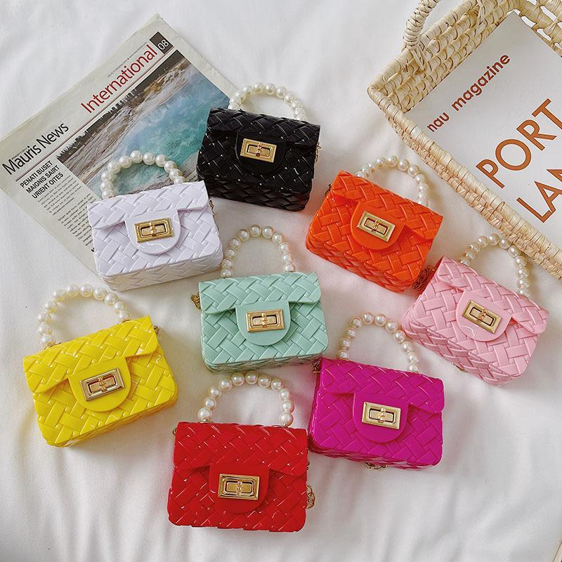 Koreanische stil kinder mini handtasche totes 2021 niedlichen pvc jelly geldbörse kinder kleine münzbeutel baby mädchen crossbody taschen
