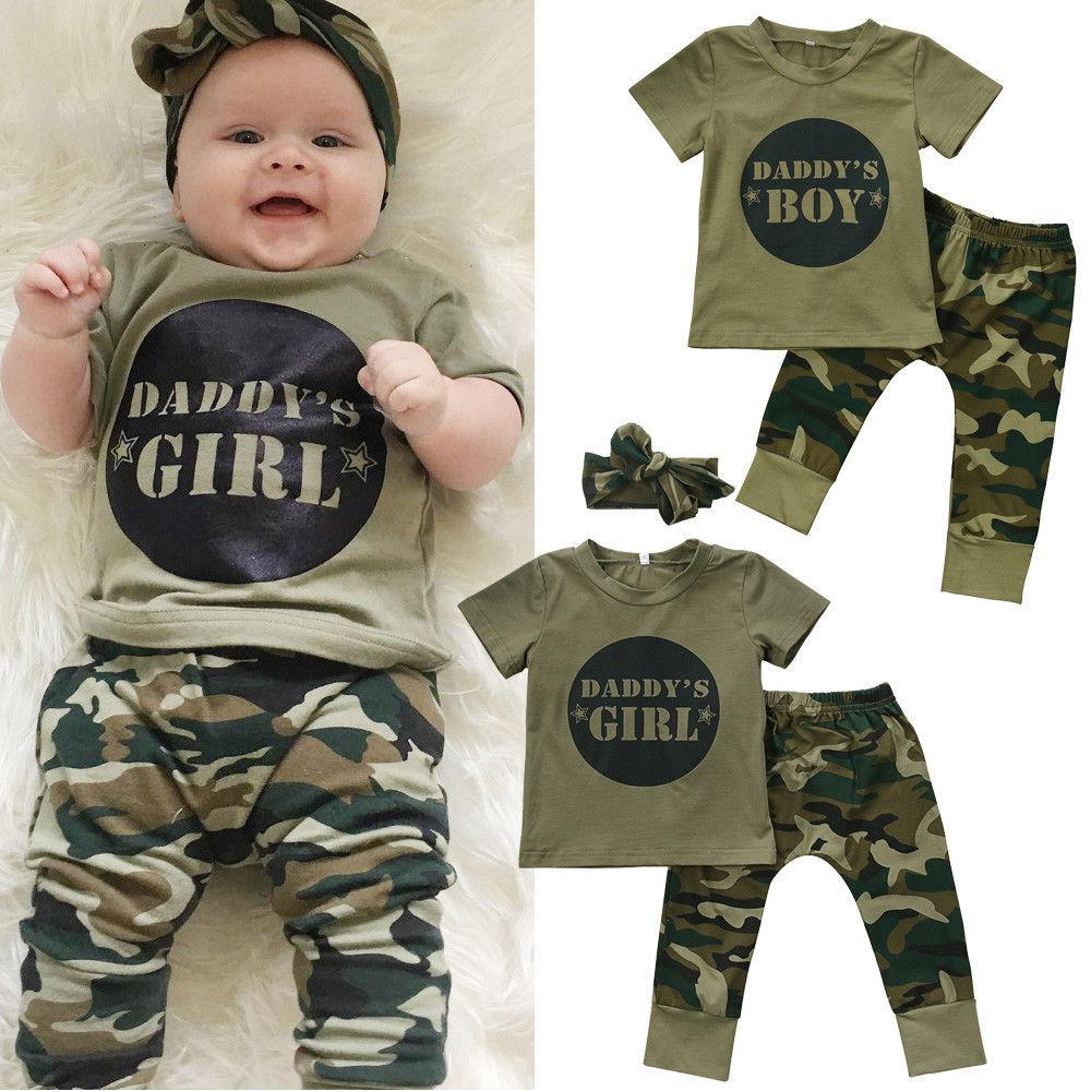 Camo Newborn Baby Boys Girls Short Sleeve T-shirt Tops Pants Outfits Set Clothes Casual Newborn Infant Baby Boy Girl Camo T-shirt Tops Pan