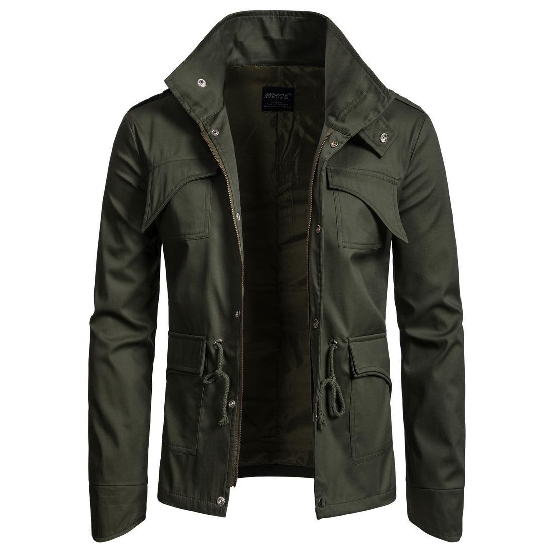 Мужская Дизайнерская Куртка Сплошной Цвет Повседневная Пальто Мужской Куртка с карманом и ремешком Азиатский Размер 3 Цвета