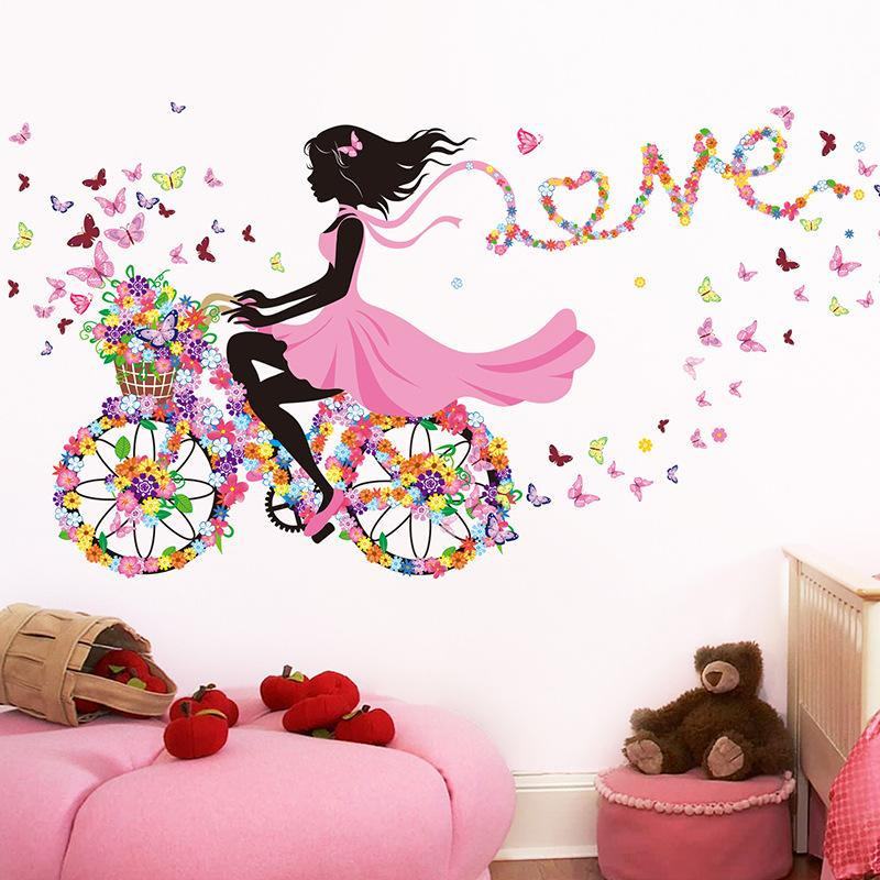 Wall Sticker Mural Home Decor Romantic Butterfly Flower Bicycle Ribbon Girl WallS Decal Bedroom Dormitory House Decoration