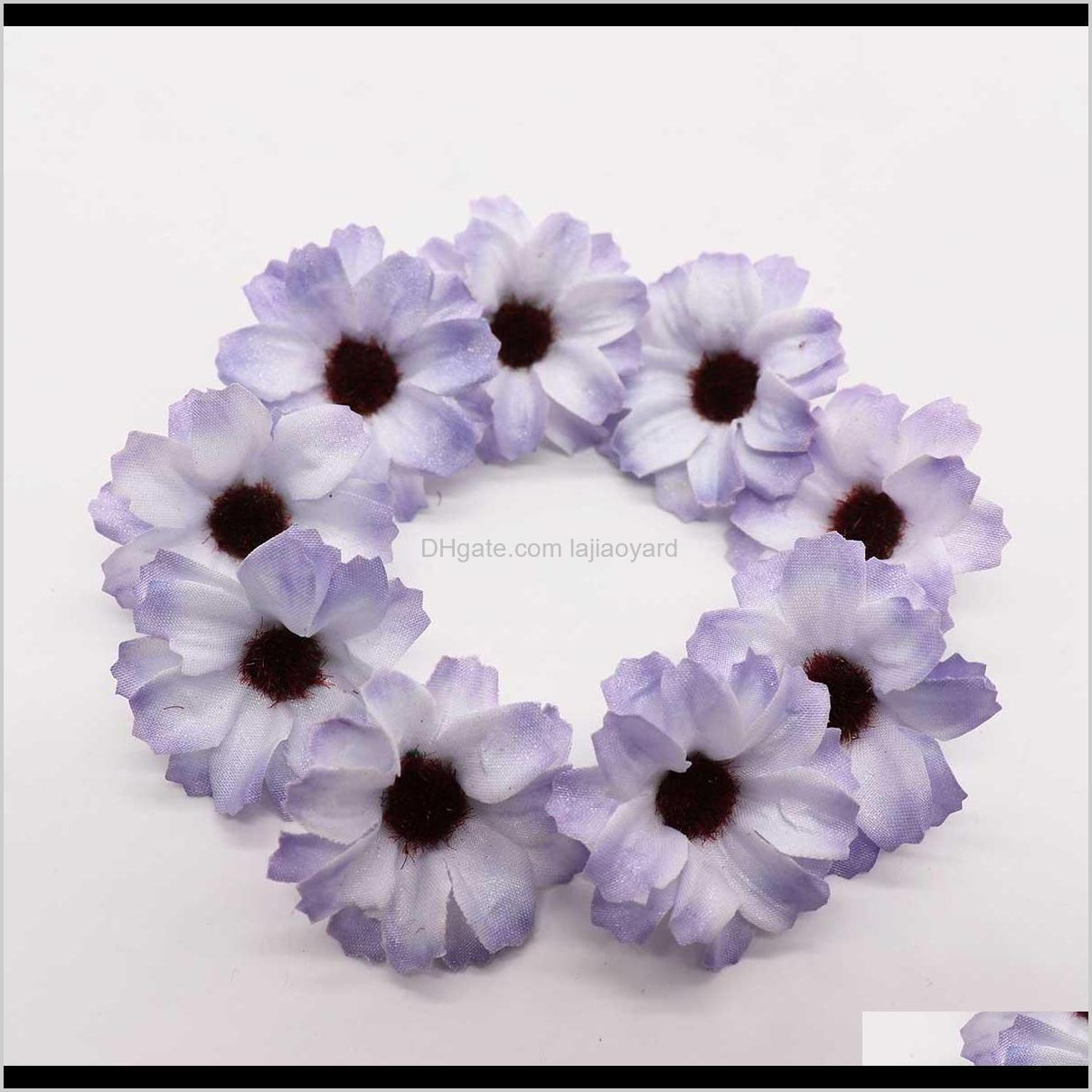 Decorative Wreaths 50Pcs Silk Small Daisies Artificial Flowers Vine Wedding Decoration Diy Wreath Candy Box Accessories Fake Sunflower I5Ijg