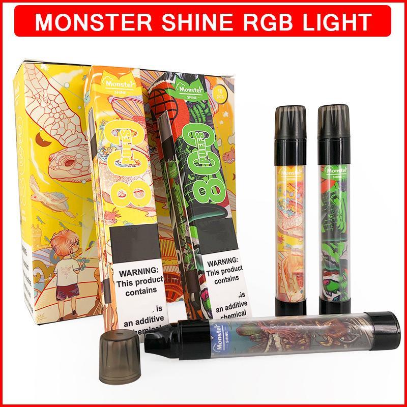 RGB 플래시 일회용 vape 괴물 빛나는 전자 담배 3.0ml 액체 카트리지 800 퍼프 550mAh 배터리 vapes 장치 전자 cigs ecigs ecigarette