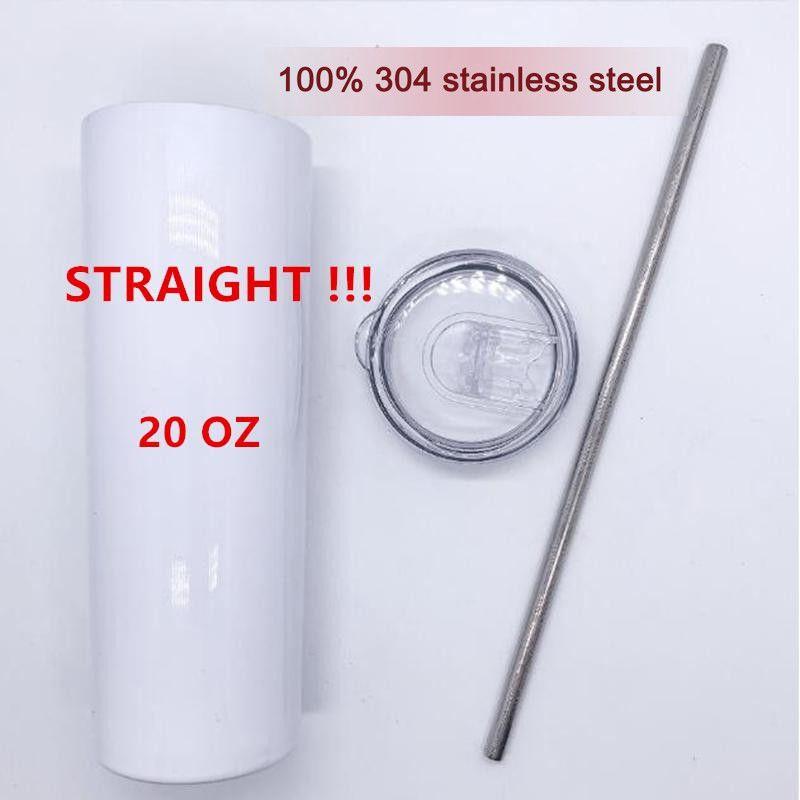 DRITTO! Tumbloni di sublimazione 20 once con paglia metallica 304 Bottiglie di acqua in acciaio inox doppio isolato tazze da esterno in bianco con tazze DHL DHL spedizione FY4275