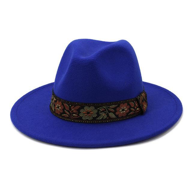 Royal Blue Women Men Wool Fedora Hat Lady Winter Autumn Wide Brim Jazz Church Panama Sombrero Cap Vintage Trilby Hat