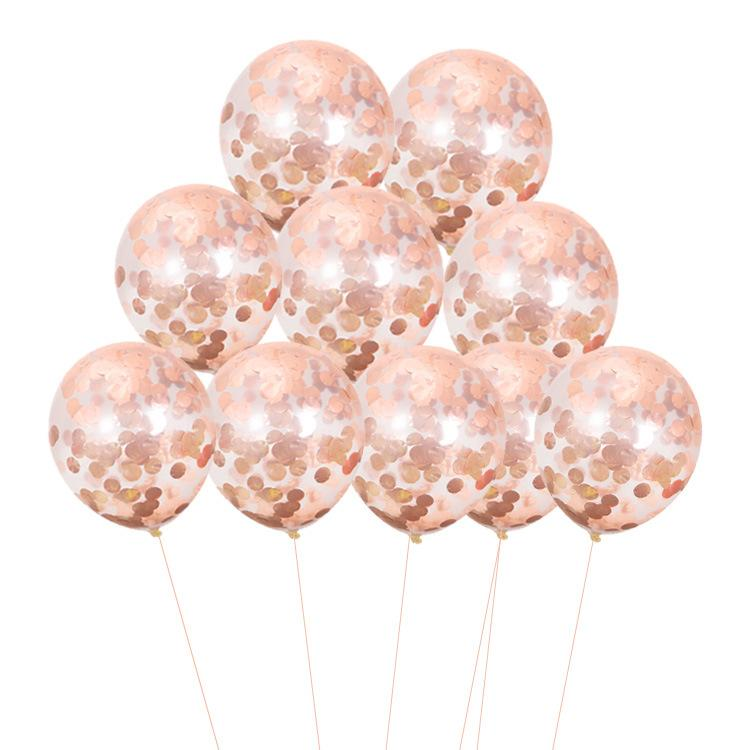 Wedding Decoration Rose Golden Confetti Balloons 12inch Transparent Latex Balloon for Birthday Engagement Party Decor