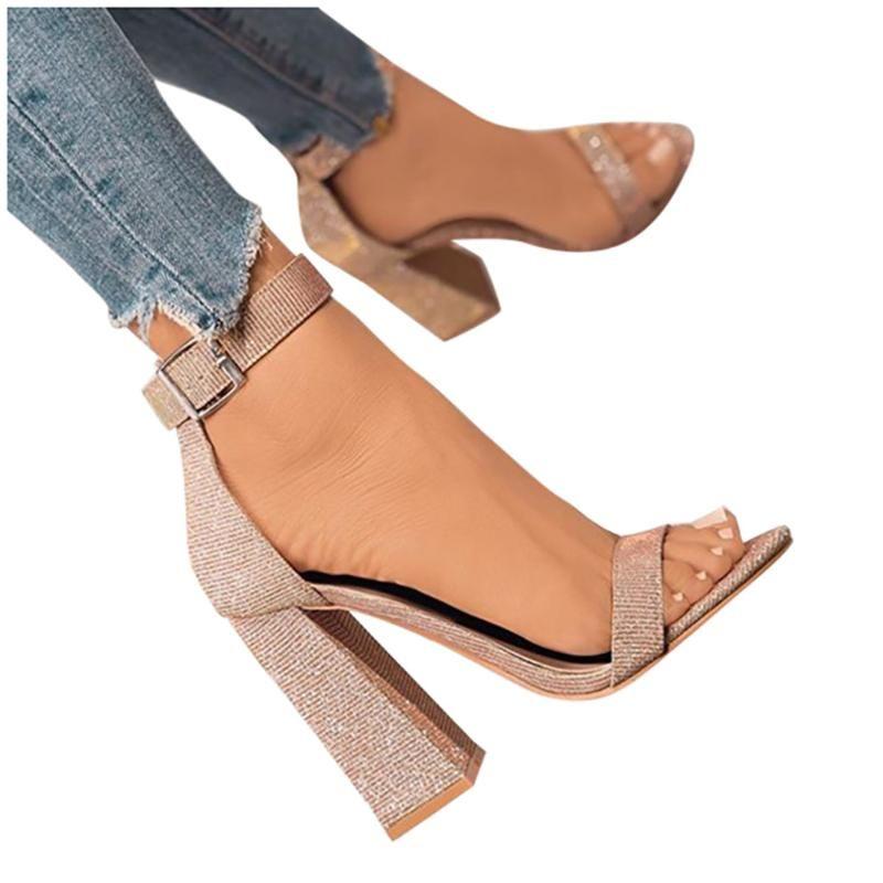 Summer Shoes Slotted Heel Heels Open Toe Sandals Ladies Plus Size Pumps Women Sandalias Femininas Fashion Single