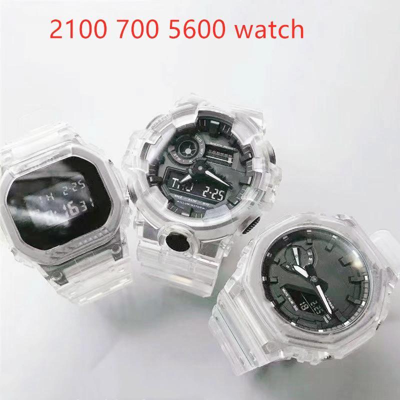 스포츠 남자 5600 2100 700 쿼츠 시계 LED 디지털 디스플레이 방수 및 Shockproof 세계 시간 투명 높은 품질