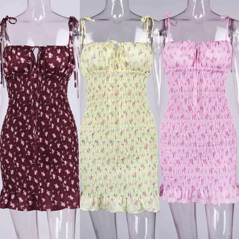 Neue Asien Weiße Blumen Shirred Minikleid Sommer 2020 Frauen Moves Kleid Sexy Spaghetti Taschentücher RUCHES Bodycon-Kleider A0618