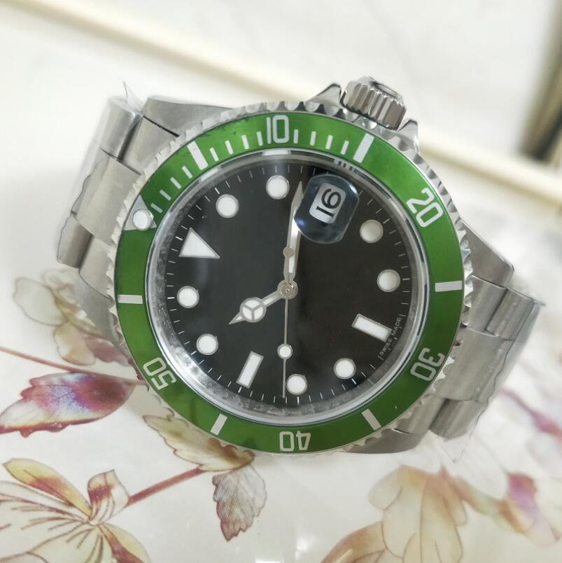 Vintage Edition erkek Saatler Antik BP Fabrika Erkek Otomatik İzle Erkekler Siyah Yeşil Alaşım Bezel Çelik Tarihi 50. Yıldönümü 16610LV Dalış Saatı