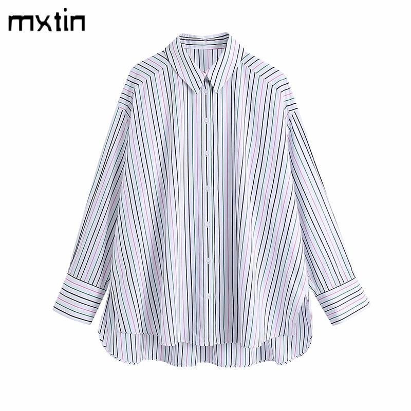Kadın Moda Renk Çizgili Boy Bluzlar Vintage Düzensiz Yaka Yaka Uzun Kollu Kadın Gömlek Blusas Casual Tops 210510
