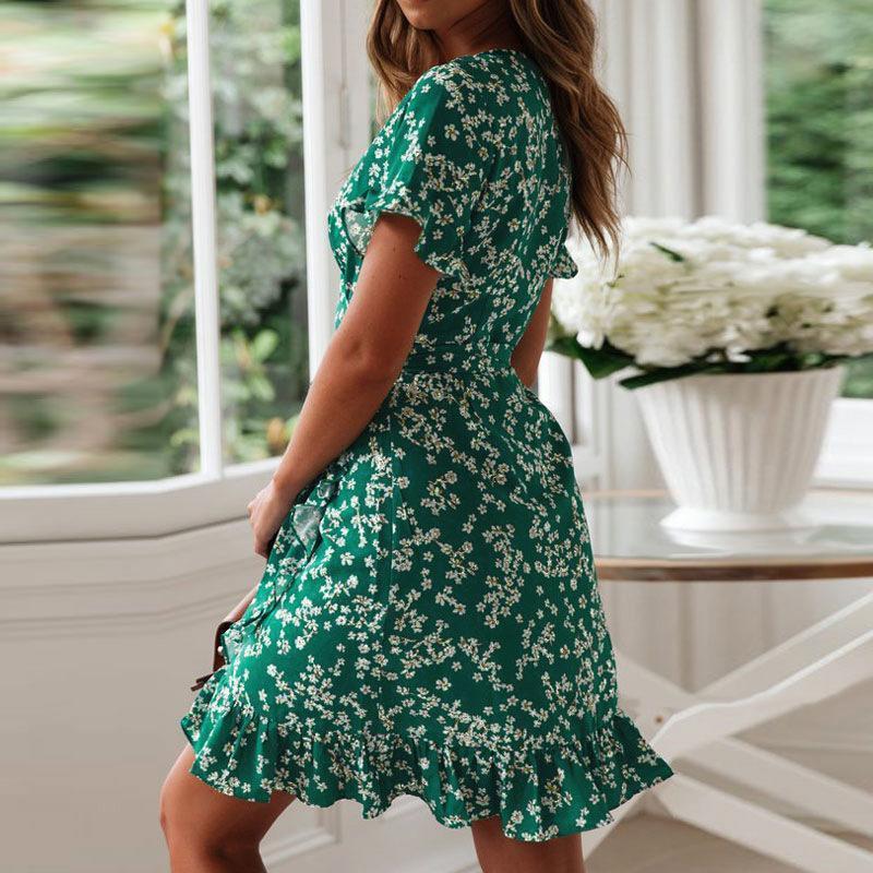 Dress Retro Print Dress Mini 2021 Women Chiffon V-Neck Short Sleeve A-line Party Vestidos1