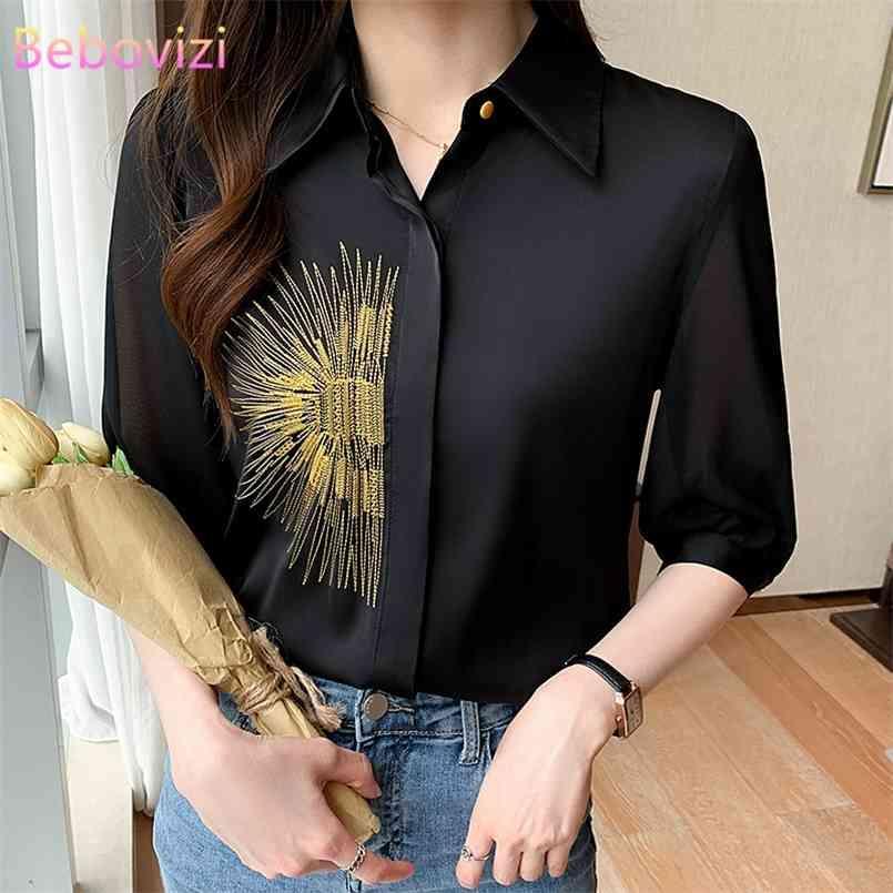S-xxl schwarz koreanische mode sommer knopf up casual shirts tops für frauen büro dame arbeit kleidung 210603