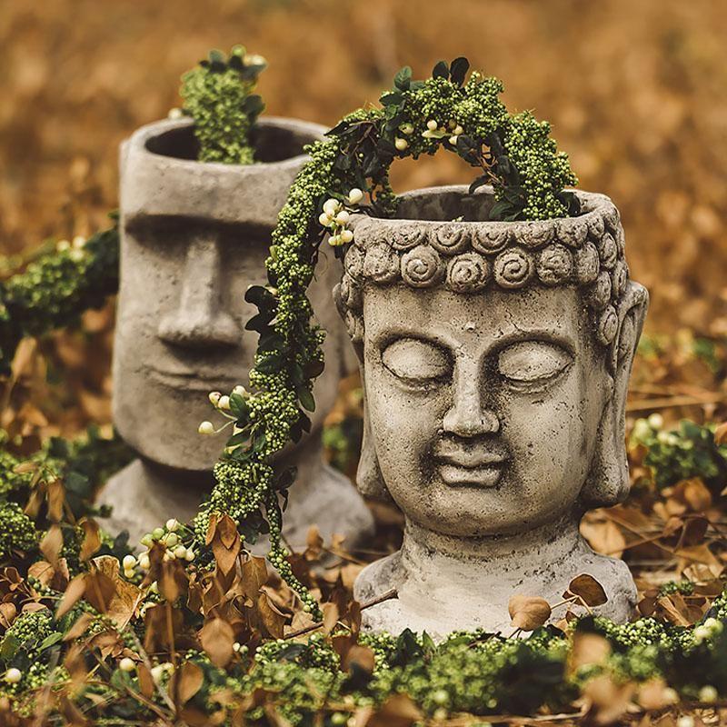 정원 신비한 부활절 섬 모아이 헤드 동상 마당 발코니 꽃병 홈 장식 불교 꽃 냄비 장식