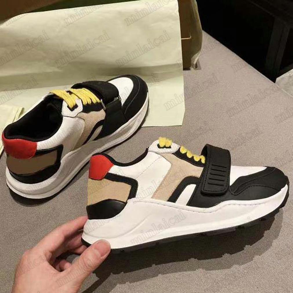 Ronnie check Niedrige Turnschuhe Italien Designer Vintage Schuhe Logo Druckgurt Leder Luxurys Runner Trainer Lace-up Front Befestigung Knöchel Beige Beiläufige Schuh