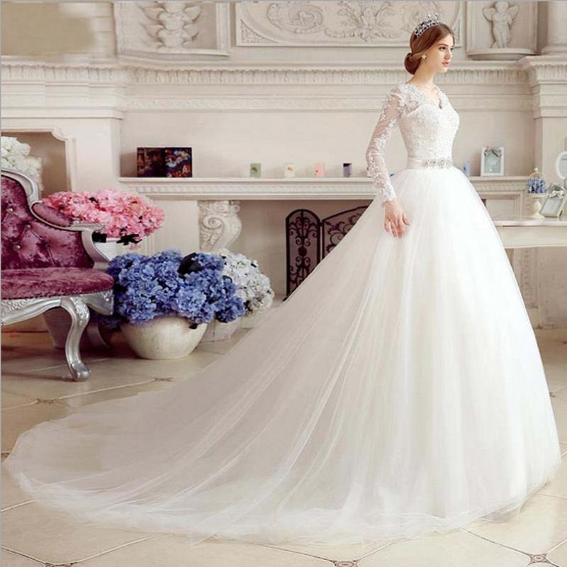 Повседневные платья Ensotek A-Line V-образным вырезом с длинными рукавами свадьбы свадебные платья Принцесса Bridal Robe De Mariage Vestido Noiva CURTO 2021 настроить